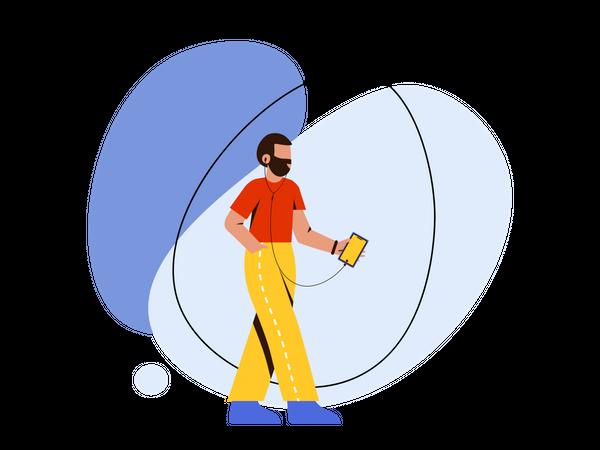 Man listening music while walking Illustration