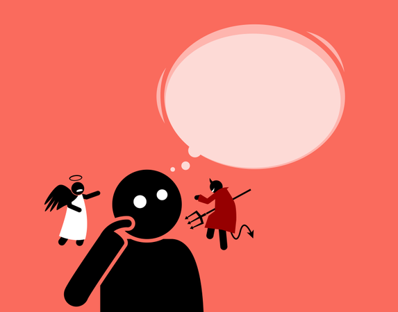 Man listening to the angel and devil that are whispering to his ears Illustration