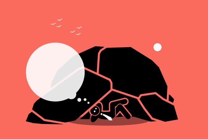 Man living under a rock or cave Illustration