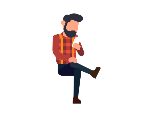 Man looking at his mobile Illustration