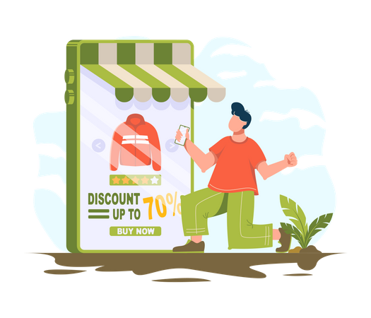 Man love to get discounts on online shopping Illustration