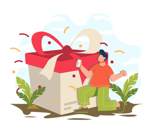 Man love to get gift on online shopping Illustration