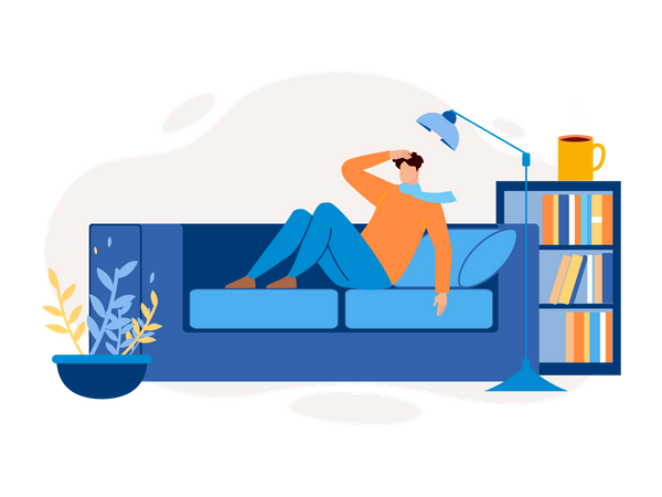 Man lying on sofa holding head as the headache concept Illustration