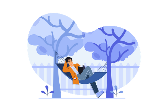 Man lying on tree swing Illustration