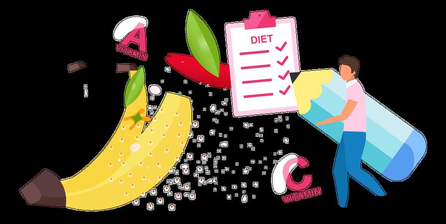 Man Make Meal According Diet Plan Illustration
