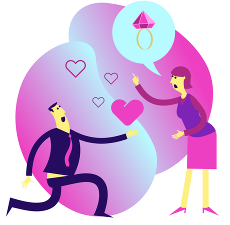 Man Makes a Marriage Proposal to a Woman Illustration