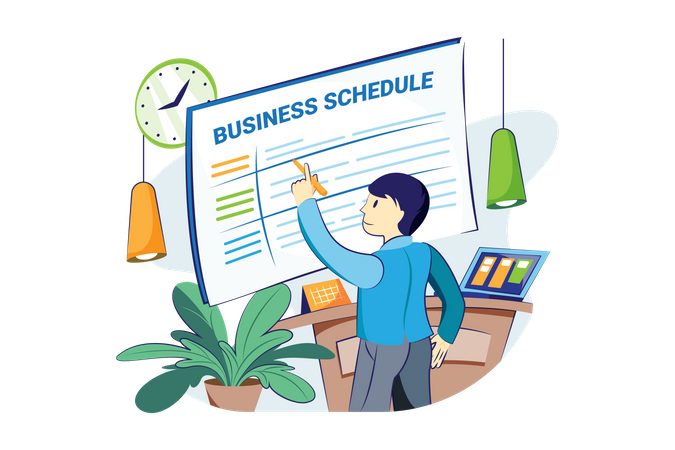 Man making business schedule Illustration