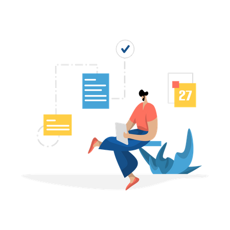 Man making data documents on tablets Illustration