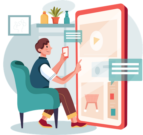 Man Managing work from home Illustration