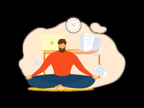 Man Meditate at Office Illustration
