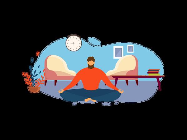 Man Meditate while Sit on Floor at Living Room Illustration