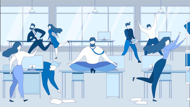 Man Meditating at Office Table Illustration