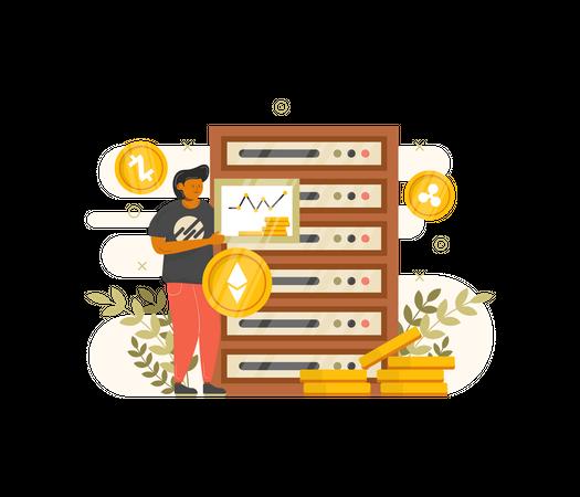 Man mining cryptocurrency using Server Illustration