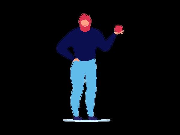 Man Motivating holding ball Illustration