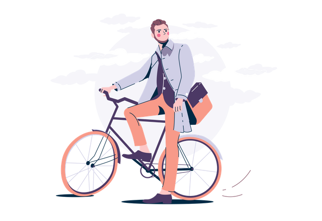 Man on a Bicycle Illustration