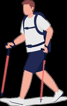 Man on Nordic walk Illustration