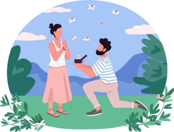 Man on one knee present diamond ring for Marriage proposal Illustration