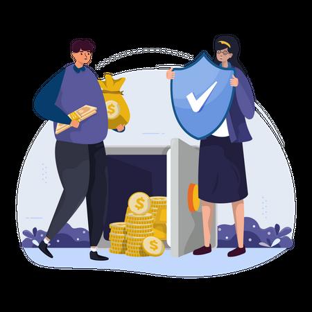 Man opening fix deposit Illustration