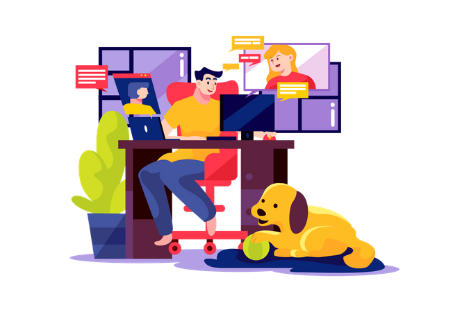 Man opens the online meeting with his team at home Illustration
