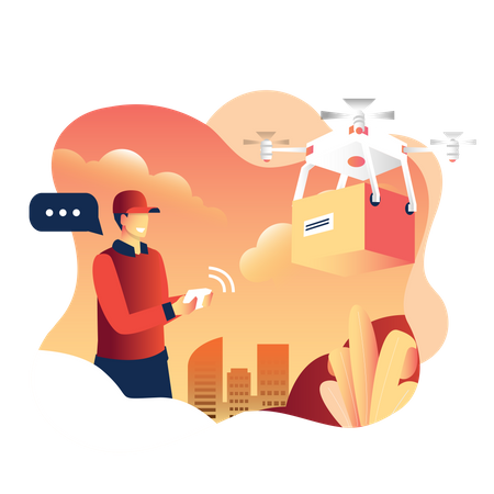 Man operating drone to deliver a parcel or package Illustration