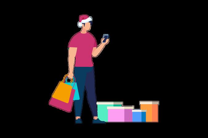 Man operating smartphone holding shopping bags Illustration