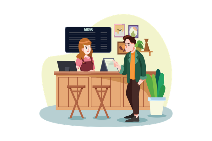 Man ordering coffee to waiter in a coffee shop Illustration