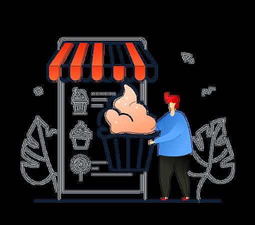 Man Ordering sweets online Illustration