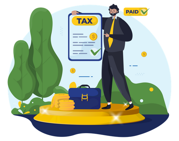 Man paid annual taxes in advance Illustration