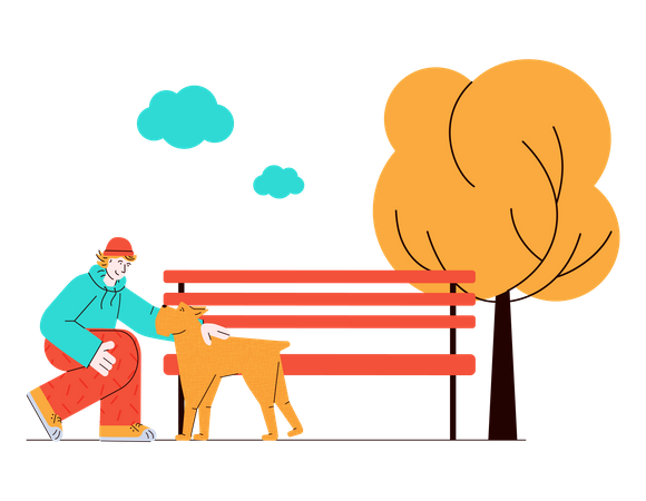 Man pampering dog in the park Illustration