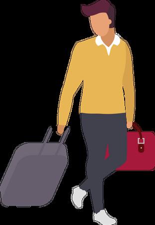 Man passenger going to business trip Illustration