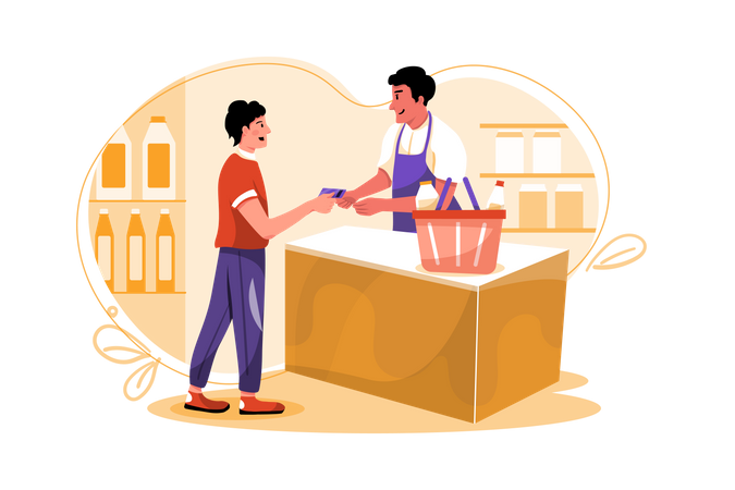 Man paying shopping bill by credit card Illustration