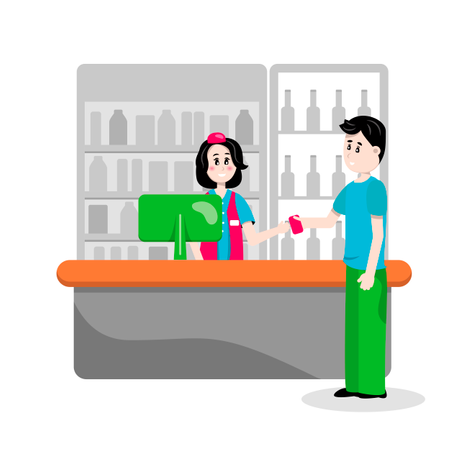Man pays a credit card for purchases in supermarket Illustration