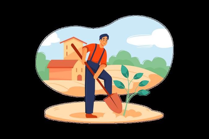 Man planting tree Illustration