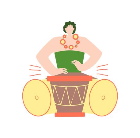 Man Playing African Drum in Traditional Clothes Illustration