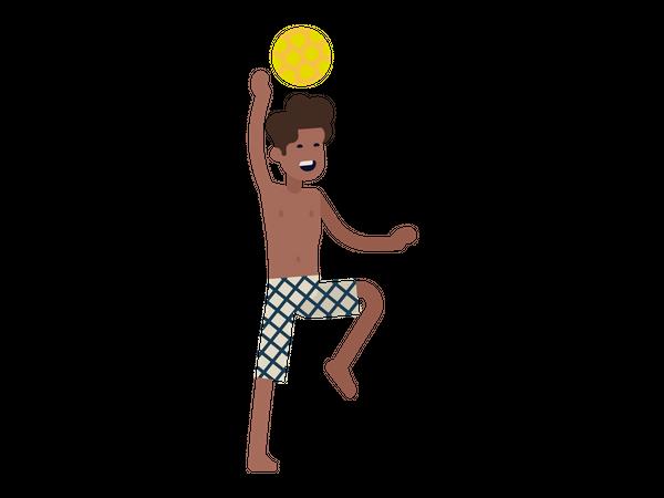 Man playing beach volleyball Illustration