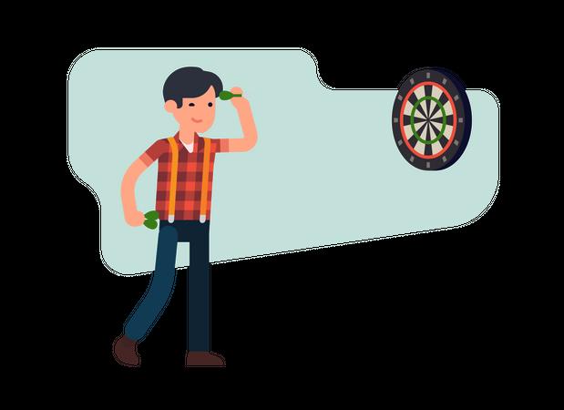 Man Playing Dart Illustration
