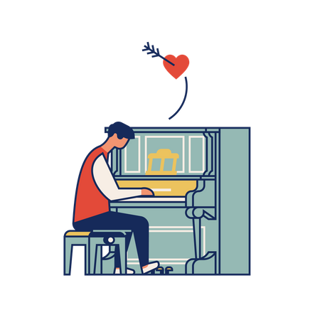 Man playing love song on piano Illustration