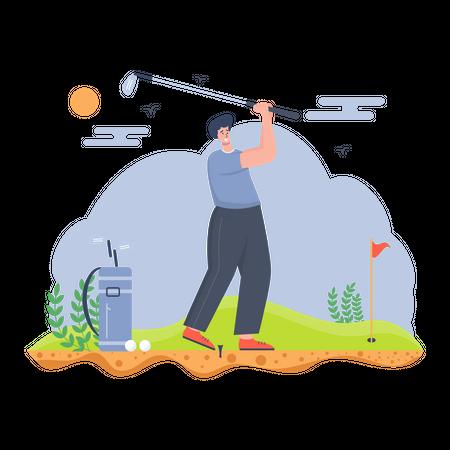 Man playing the golf game Illustration