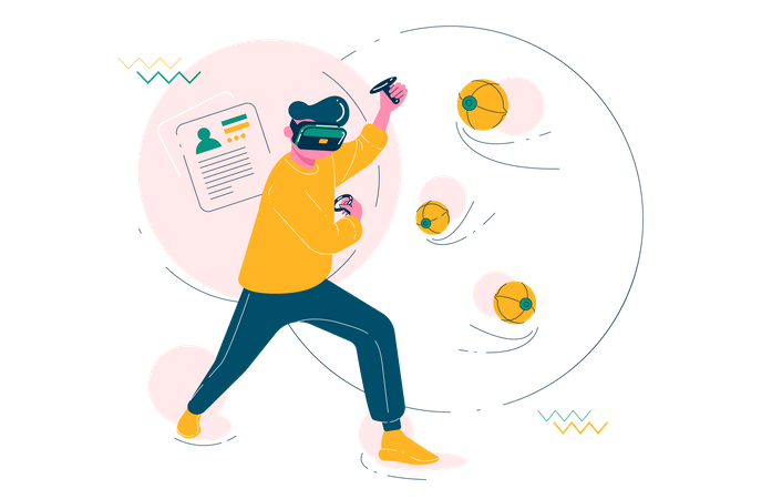 Man playing VR Game Illustration