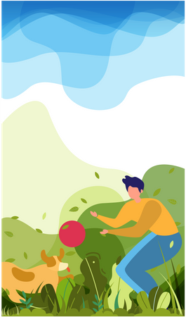 Man playing with his dog at park Illustration