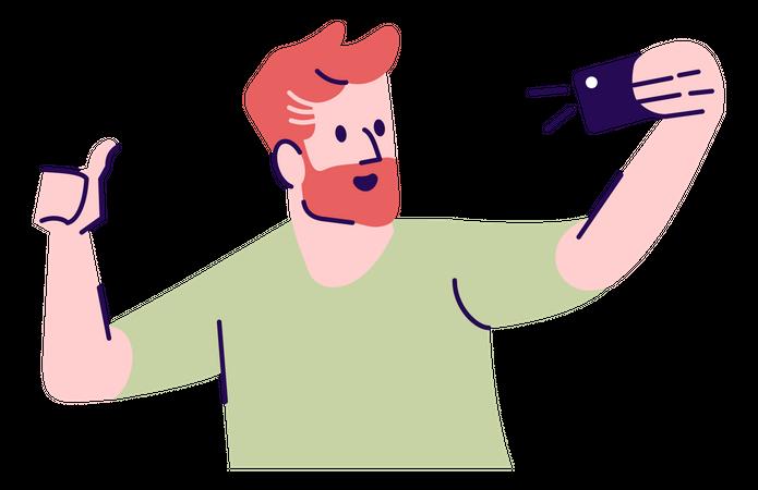 Man Posing For Selfie Illustration
