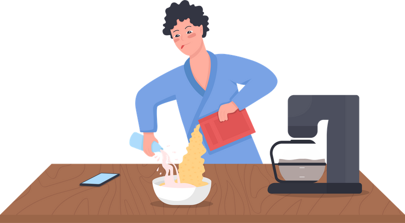 Man pouring milk in cereal Illustration