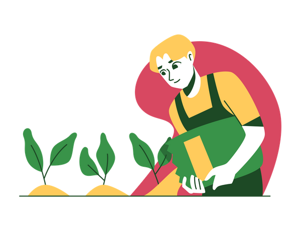 Man pouring plant fertilizer Illustration
