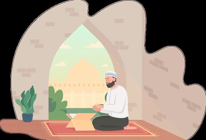 Man praying Quran Illustration