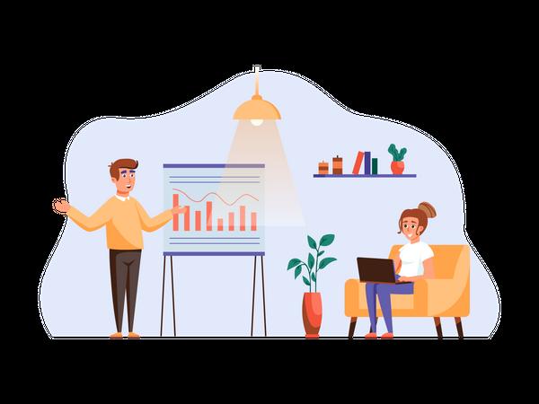 Man presenting growth chart to businesswoman Illustration