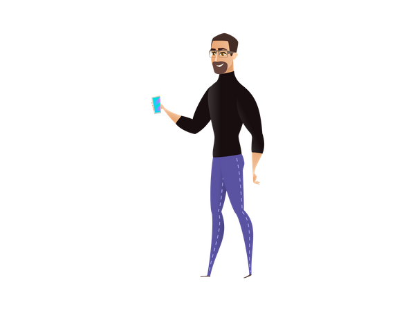 Man presenting new product Illustration