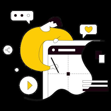 Man presenting website design Illustration
