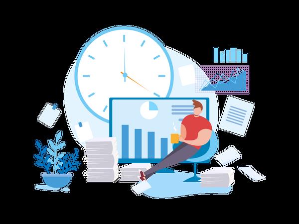 Man Procrastinate at Work and Low Productivity Illustration