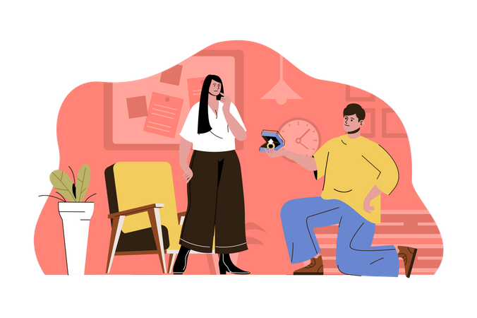 Man proposing girl Illustration