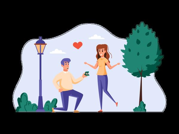 Man proposing girl in park Illustration
